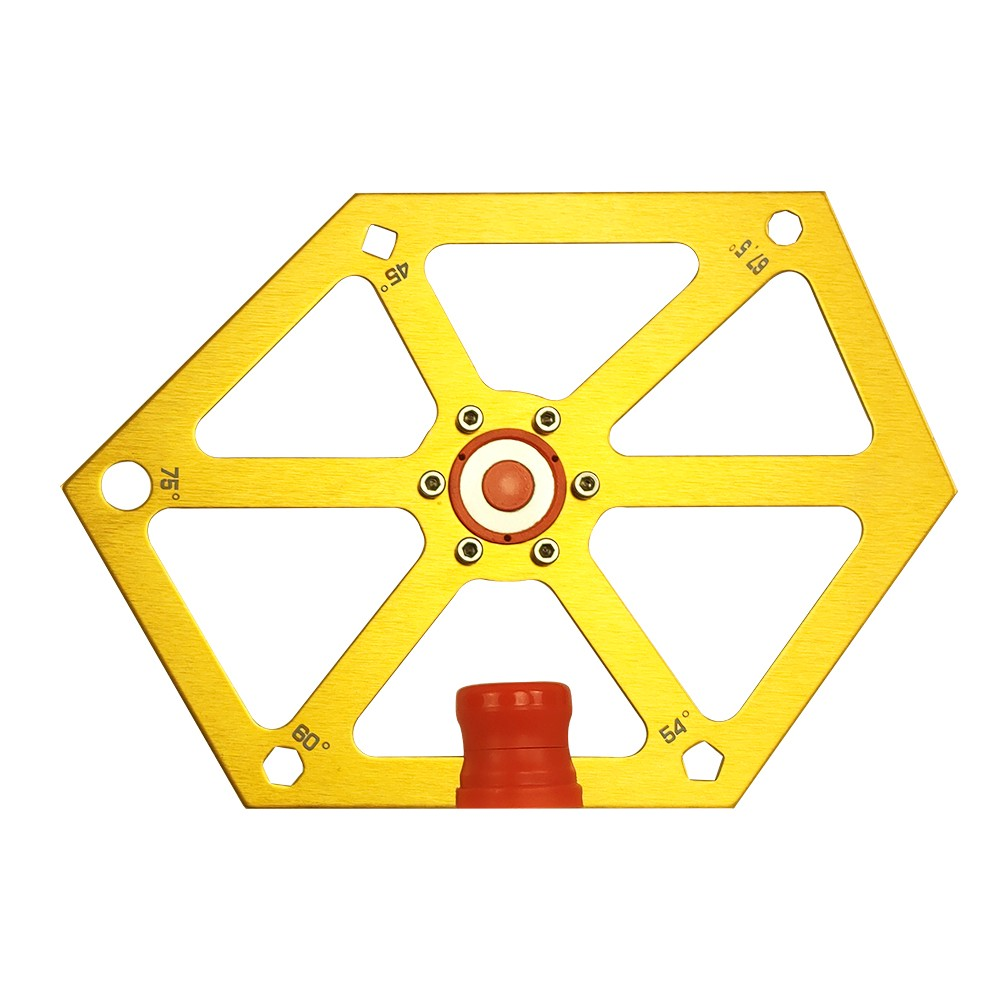 DUEBEL Aluminum Alloy Hexagon Ruler for Table Saw Multi-Angle Measuring Tool 45-54-60-67.5-75° Angle Finder Construction Protractor for Woodworking (Golden)